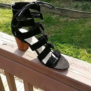 Marc Fisher Lace Up  Heel Sandals Black sz 5.5